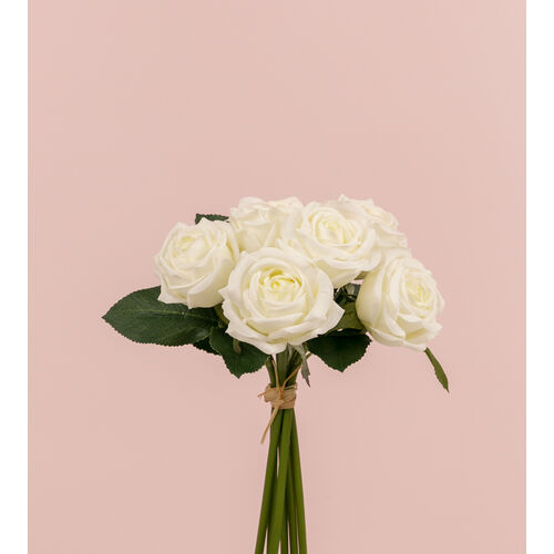 Real Touch Rose Bunch x 6 heads FB0121-WH